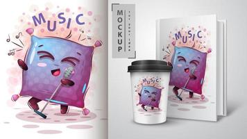 Cartoon Musik Kissen Design vektor