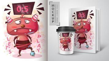 Cartoon Monster spielt Fußball Design vektor