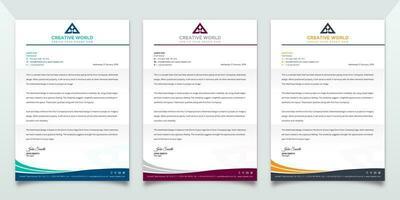 mall för brevpapper med vågdesign vektor