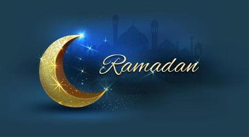 ramadan kareem med gyllene halvmåne på blått