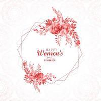 schöner Blumenrahmen für Frauentageskarte vektor