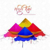 Holi-Karte mit buntem Gulal auf Musterhintergrund