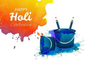 Holi Festivalkarte mit Orangenspritzer und zwei Eimern