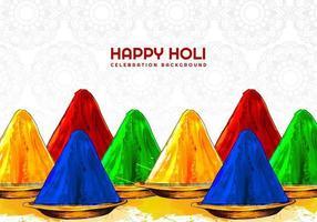 Holi Festival Farben auf gemustertem Hintergrund