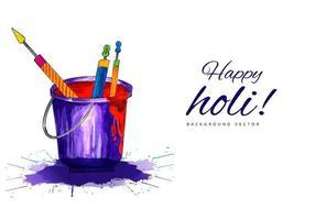 Happy Holi Banner mit Eimer und Typografie
