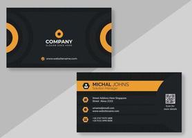 svart och orange visitkort med halvcirkel design
