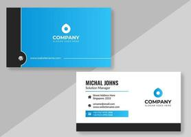 blaue und weiße Visitenkarte mit schwarzen Rändern