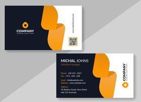 svartvitt visitkort med avlånga orange former