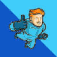 Superheld in Blau macht Daumen hoch