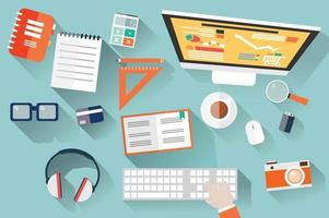 ovanifrån av skrivbordet med kontorsmaterial vektor