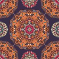 sömlösa mönster med dekorativa blommor etniska mandalor vektor