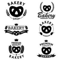 Bäckerei Abzeichen Sammlung mit Brezel vektor