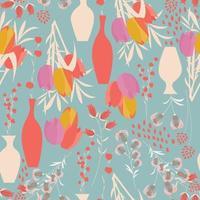 nahtloses Muster mit Frühlingsblumen, Tulpen, Lilien und Vasen vektor