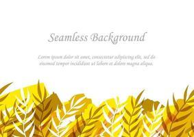 sömlös gul och brun botanisk bakgrund med textutrymme