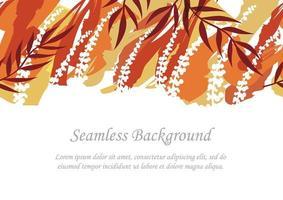sömlös röd och orange botanisk bakgrund med textutrymme
