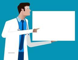 Arzt zeigt auf leeres Schildplakat vektor