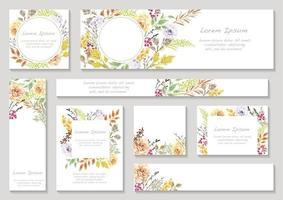 uppsättning färgglada blommig kort med textutrymme