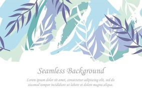 nahtloser blauer botanischer Hintergrund mit Textraum vektor