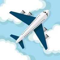 Flugzeug fliegt über Wolken