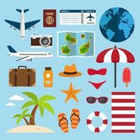 Reisen und Urlaub am Strand Element Set vektor