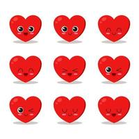 söt hjärta karaktär uppsättning