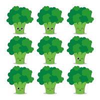 broccoli karaktär samling vektor