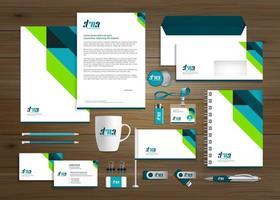 Vorlage für die grüne und blaue Unternehmensidentität des Unternehmens