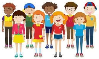 grupp tonåringar som står tillsammans vektor