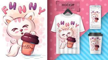 katt med kaffeaffisch och merchandising