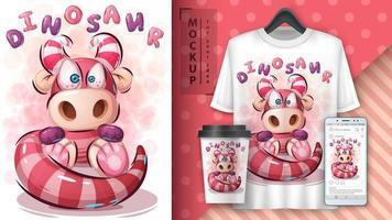 rosa Teddy Dinosaurier Design