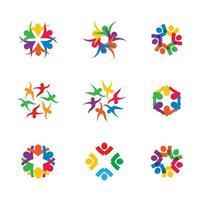 Business-Teamwork mit farbenfrohen, vernetzten Menschen
