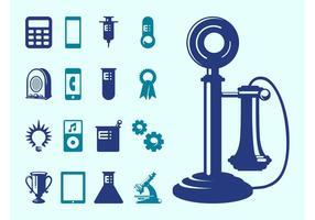 Technologie- und Wissenschafts-Ikonen vektor