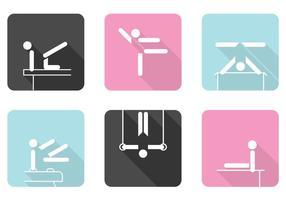 Gymnastik ikoner vektor uppsättning