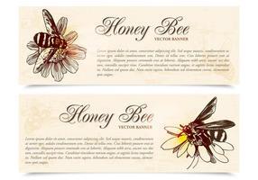 Honung bi banners vektor uppsättning