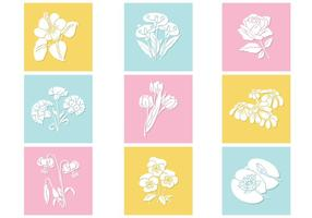 Pastell Blumen Vektor Set