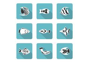 Stiliserade fisk ikoner vektor uppsättning