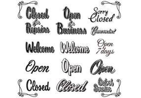 Retro Weinlese öffnen geschlossene Zeichen-Vektoren