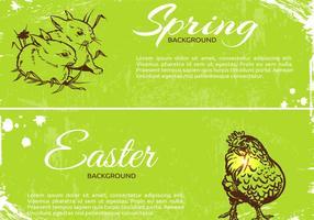 Grungy Frühjahr Ostern Banner Vektoren
