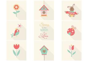 Söt våren ikoner vektor pack