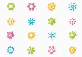Frische Blumen-Aufkleber Vektor-Set vektor