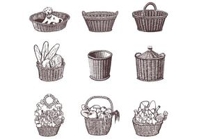 Drawn Wicker Basket Vector Set