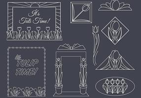 Art Deco Tulips Vector Set