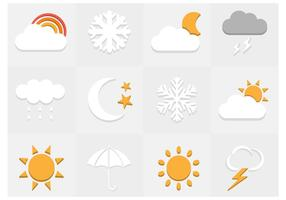 Platt väder ikoner vektor uppsättning