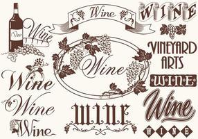 Weinlese-Wein-Elemente-Vektoren vektor