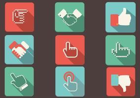 Flache Schatten Hand Icons Vektor Set