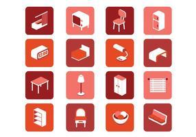 3D möbler ikoner vektor uppsättning