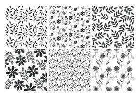 Blommiga blad bakgrunder vektor uppsättning