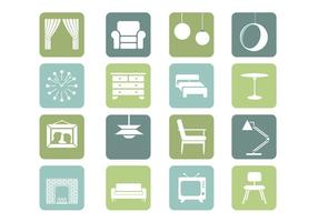 Möbler Ikoner Vektor Samling