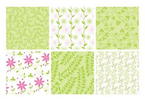 Pink Green Floral Backgrounds Vector Set