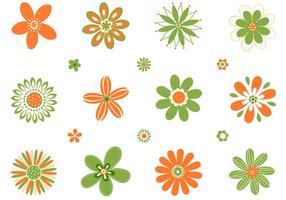 Retro Orange Gröna Blommor Vektor Set